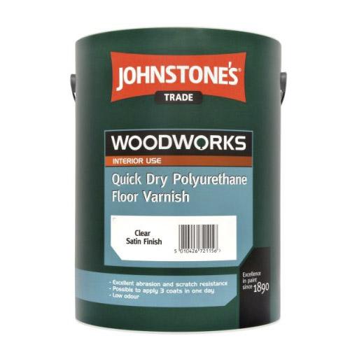 Лак паркетный Johnstones Quick Dry Polyurethane Floor Varnish Gloss Clear Water Based 2,5 л