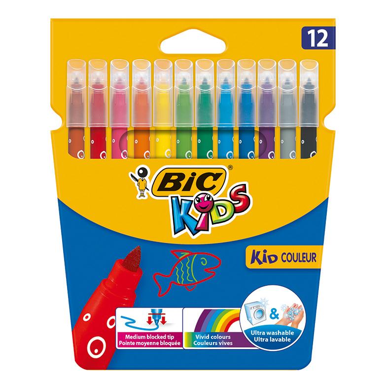 Цветные фломастеры BIC Кид Колор 12 цветов.