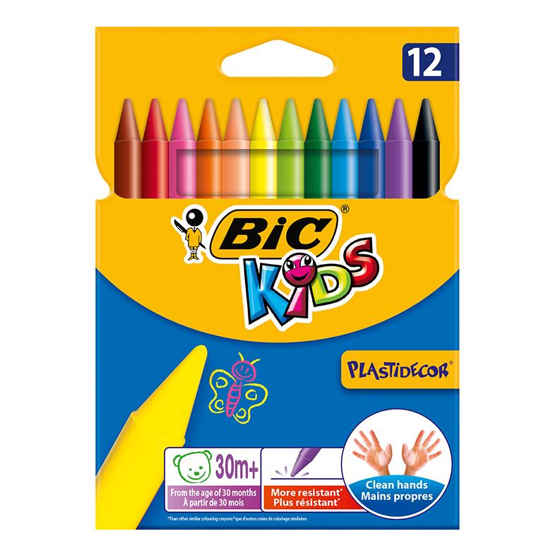 BIC Цветные пластиковые мелки Пластидекор коробка 12 цветов.