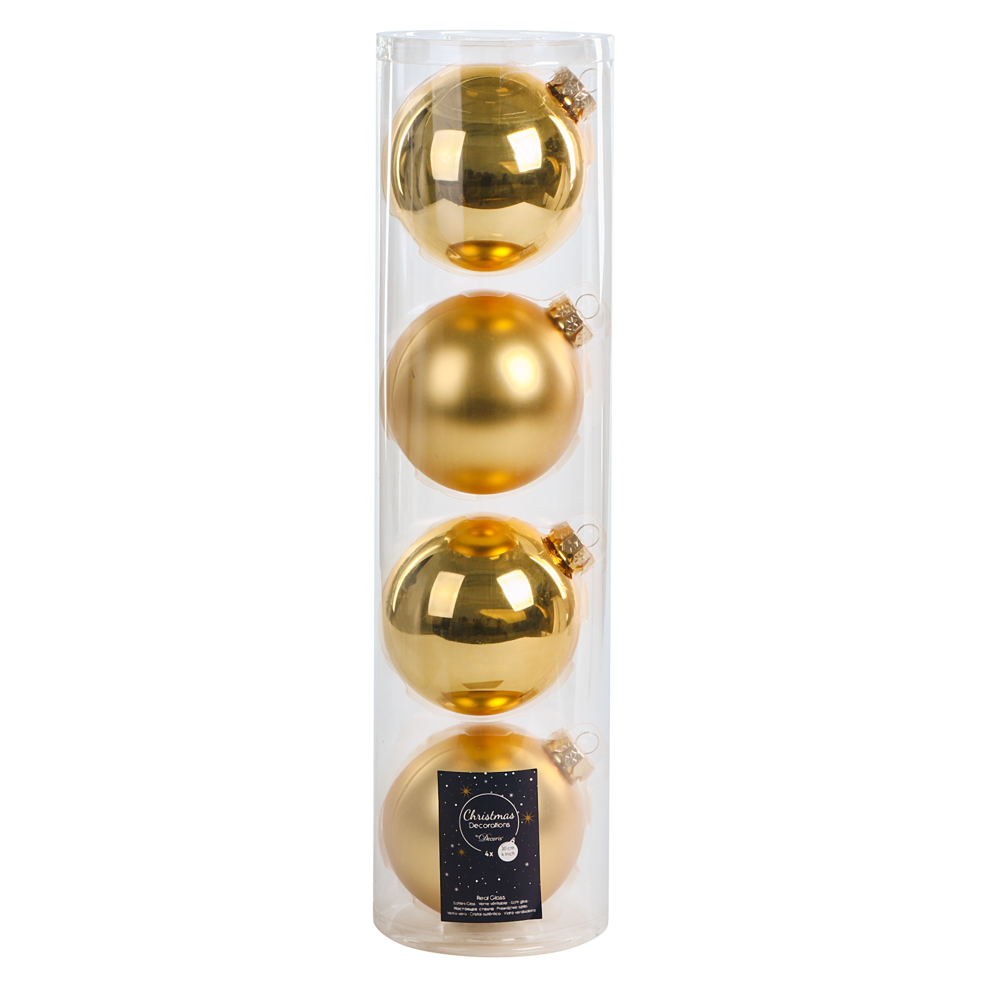 Набор шаров в тубе Kaemingk 10см 4шт золотое стекло набор шаров в тубе kaemingk 6см 10шт бордо стекло