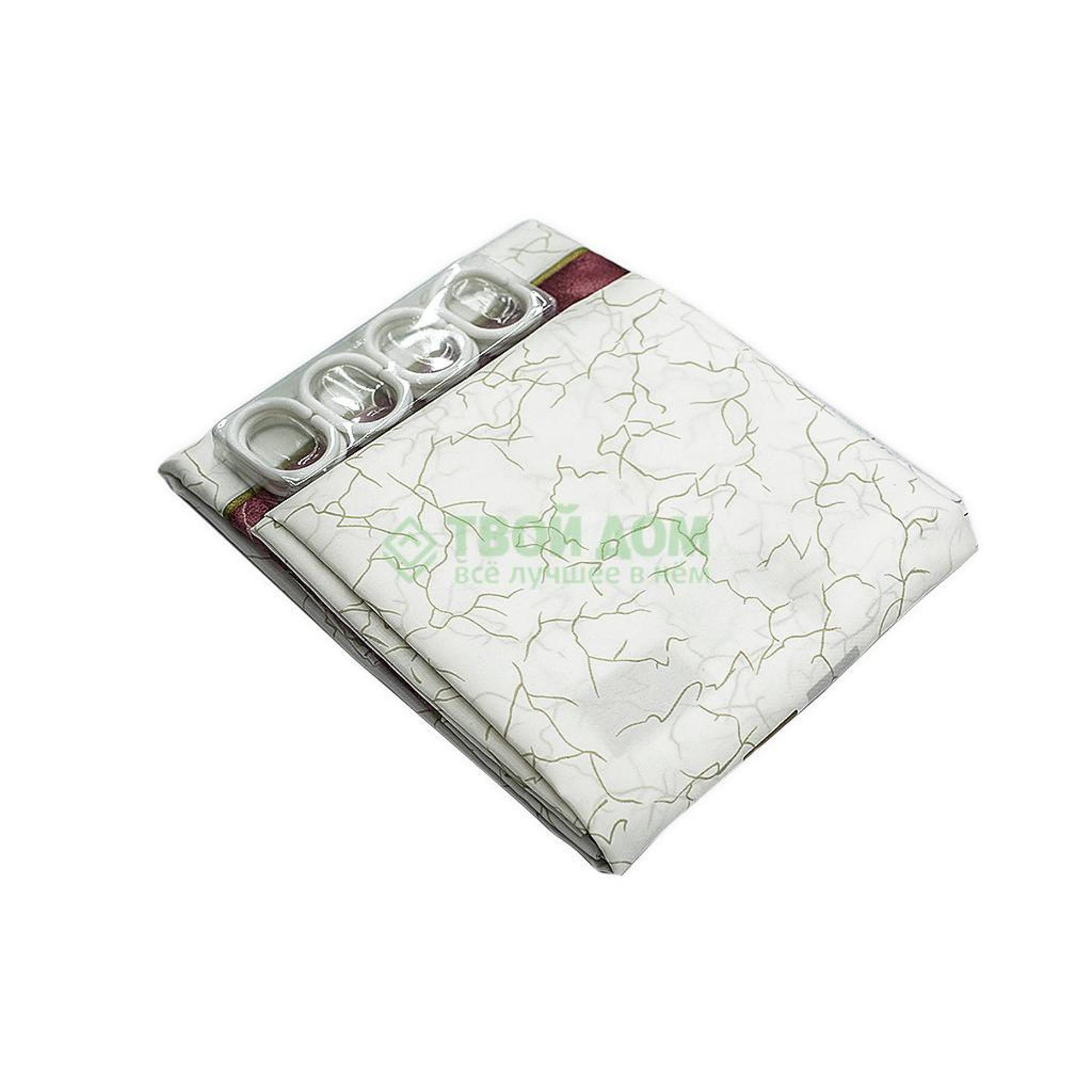 Купить Штора для ванной комнаты Niklen 186 White-Brown, штора для ванной комнаты, Канада, коричневый, белый, полиэстер