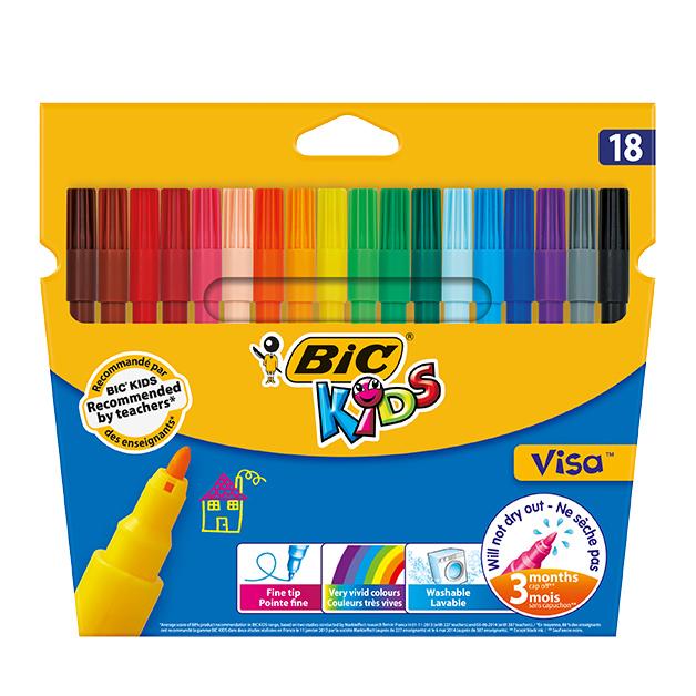 Цветные фломастеры BIC Visa 18 цветов фломастеры стамм веселые игрушки 18 цветов фв05