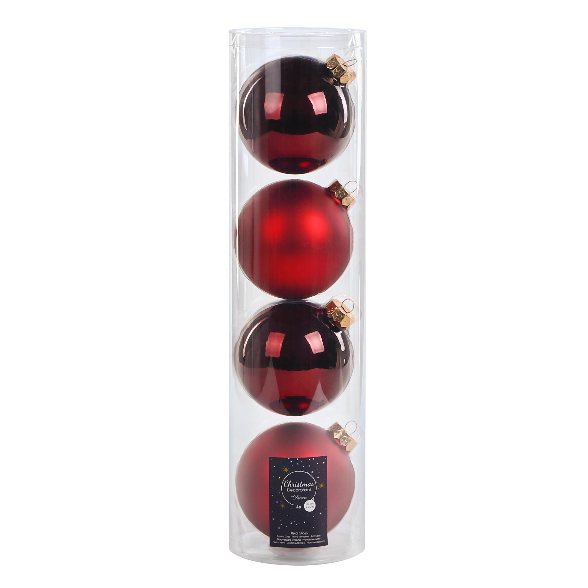 Набор шаров в тубе Kaemingk 10см 4шт бордо стекло набор шаров в тубе kaemingk 6см 10шт бордо стекло