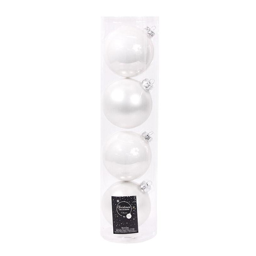 Набор шаров в тубе Kaemingk 10см 4шт белое стекло набор шаров в тубе kaemingk 6см 10шт бордо стекло