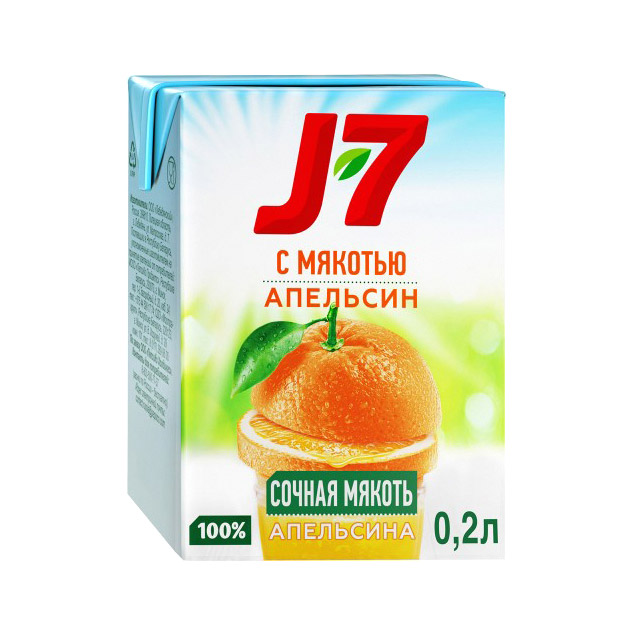Фото - Сок J7 Апельсиновый с мякотью 200 мл j7