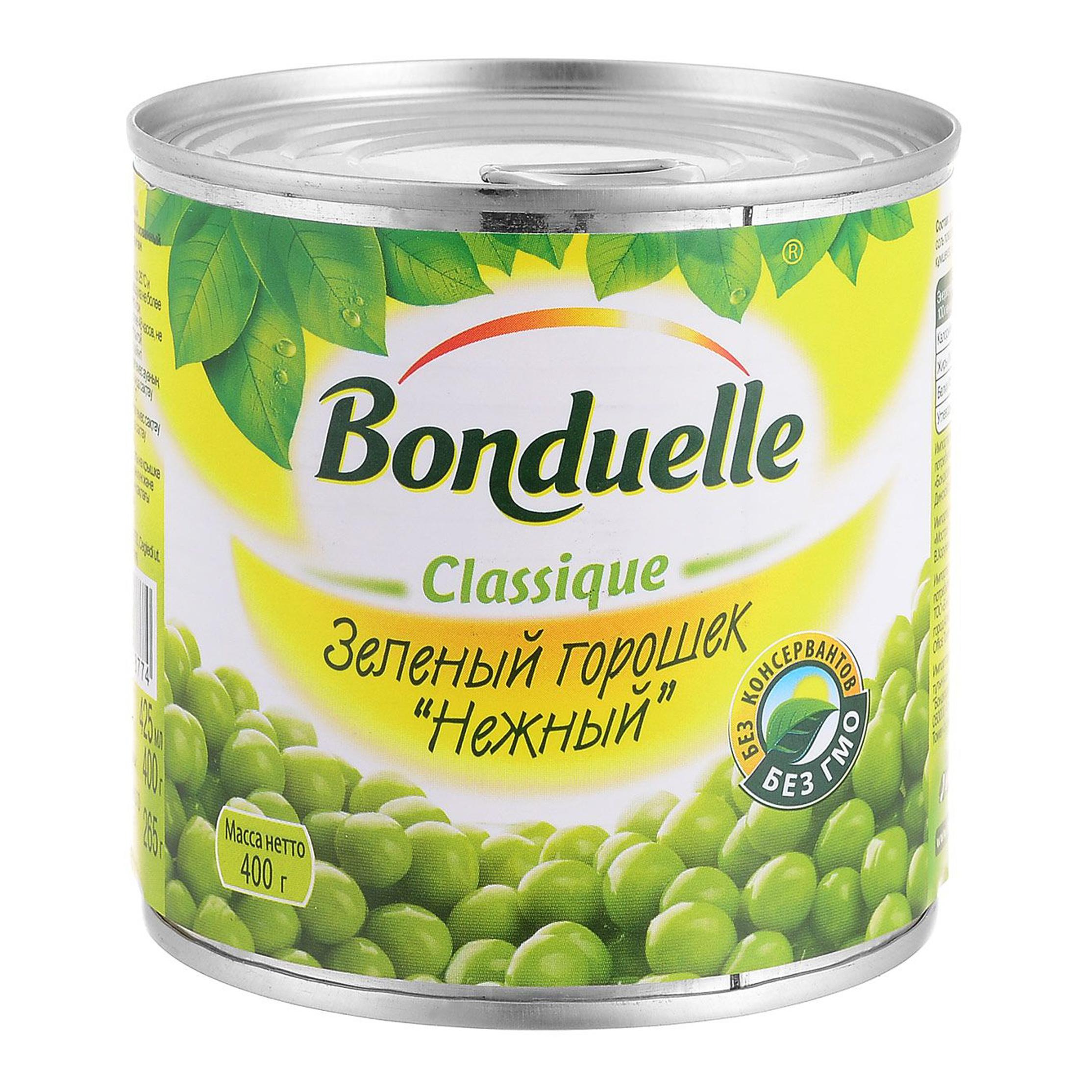 Горошек зеленый Bonduelle Нежный 400 г зеленый горошек bonduelle classique нежный стеклянная банка 530 г