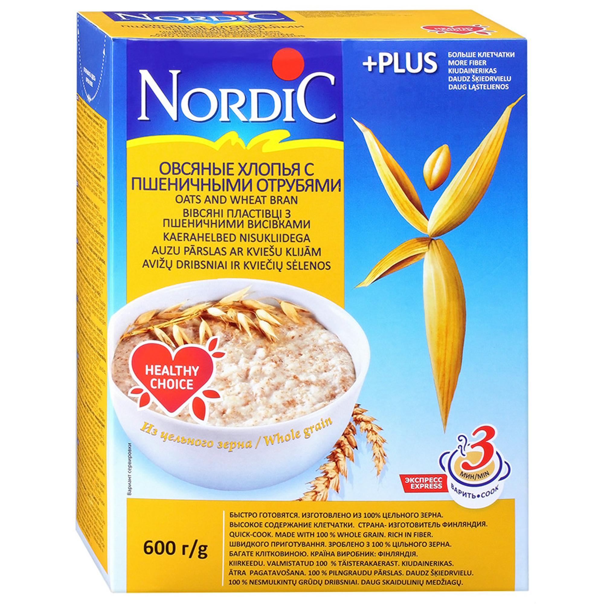 Хлопья Nordic овсяные с пшеничными отрубями 600 г