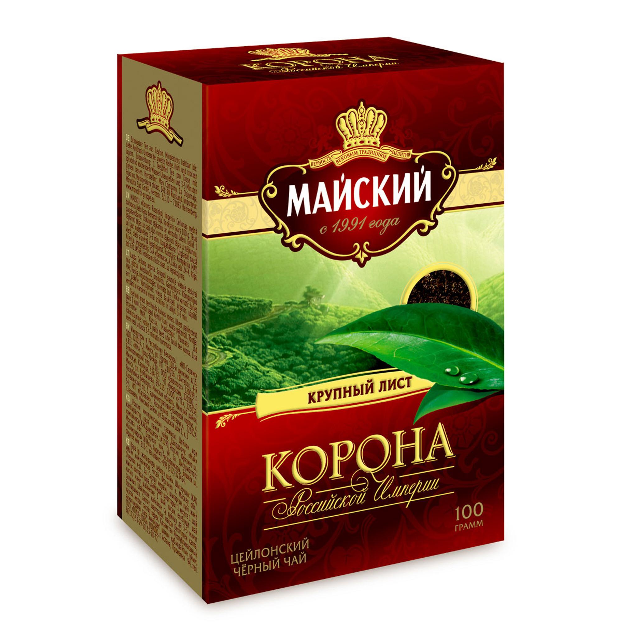 Чай черный Майский Корона Российской Империи крупнолистовой 100 г фото