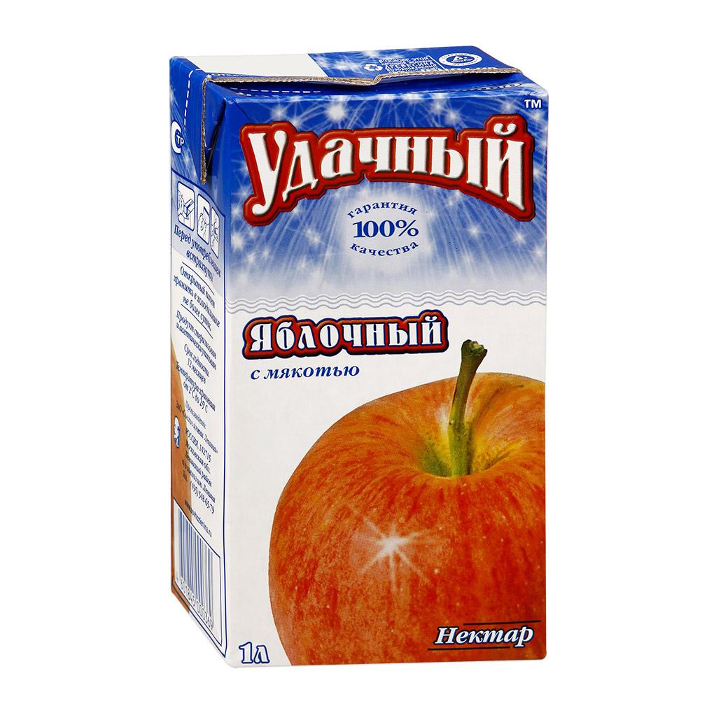 Нектар Удачный яблочный с мякотью 1 л нектар удачный яблочно облепиховый неосветленный 1 л
