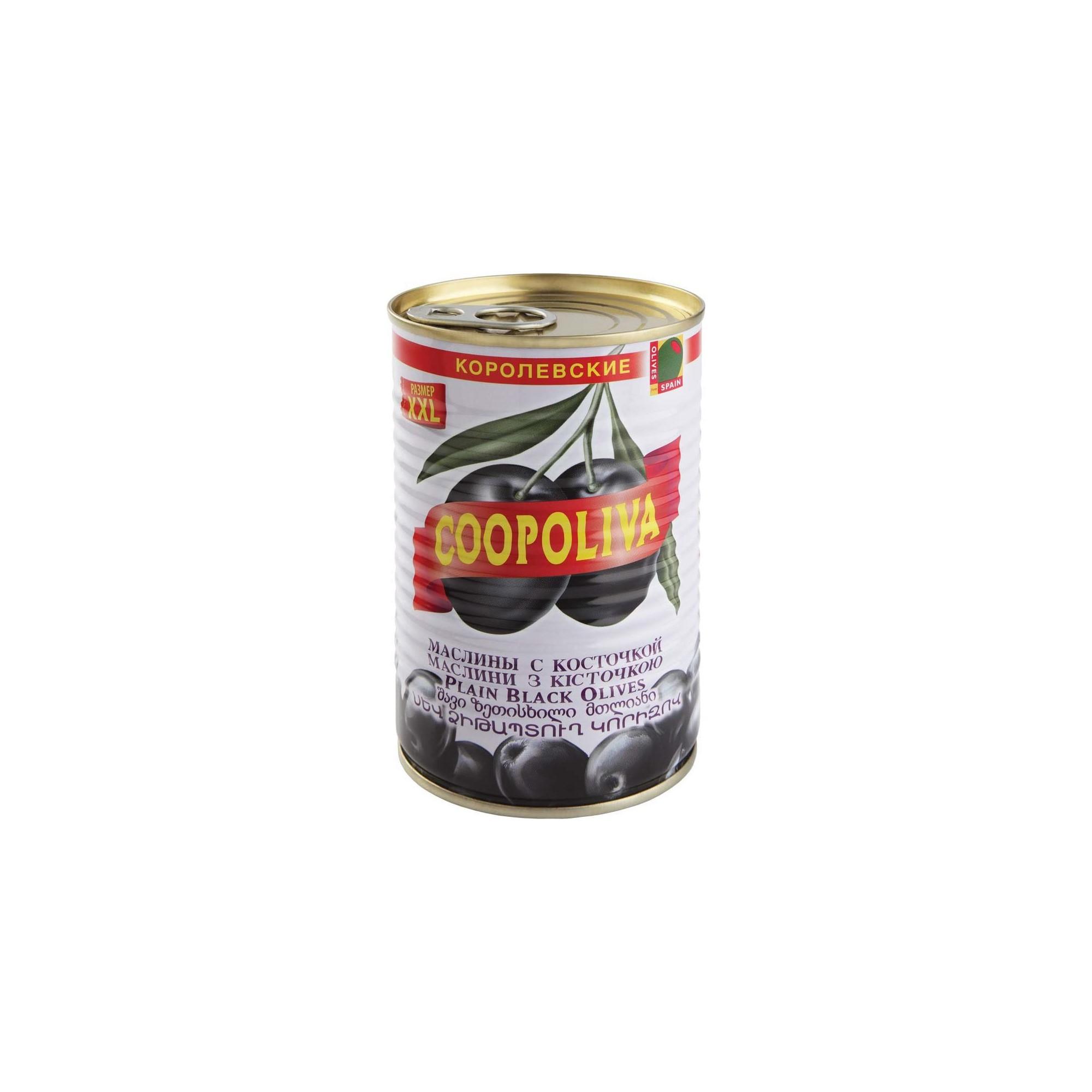Маслины Coopoliva королевские с косточкой 405 г itlv маслины super с косточкой