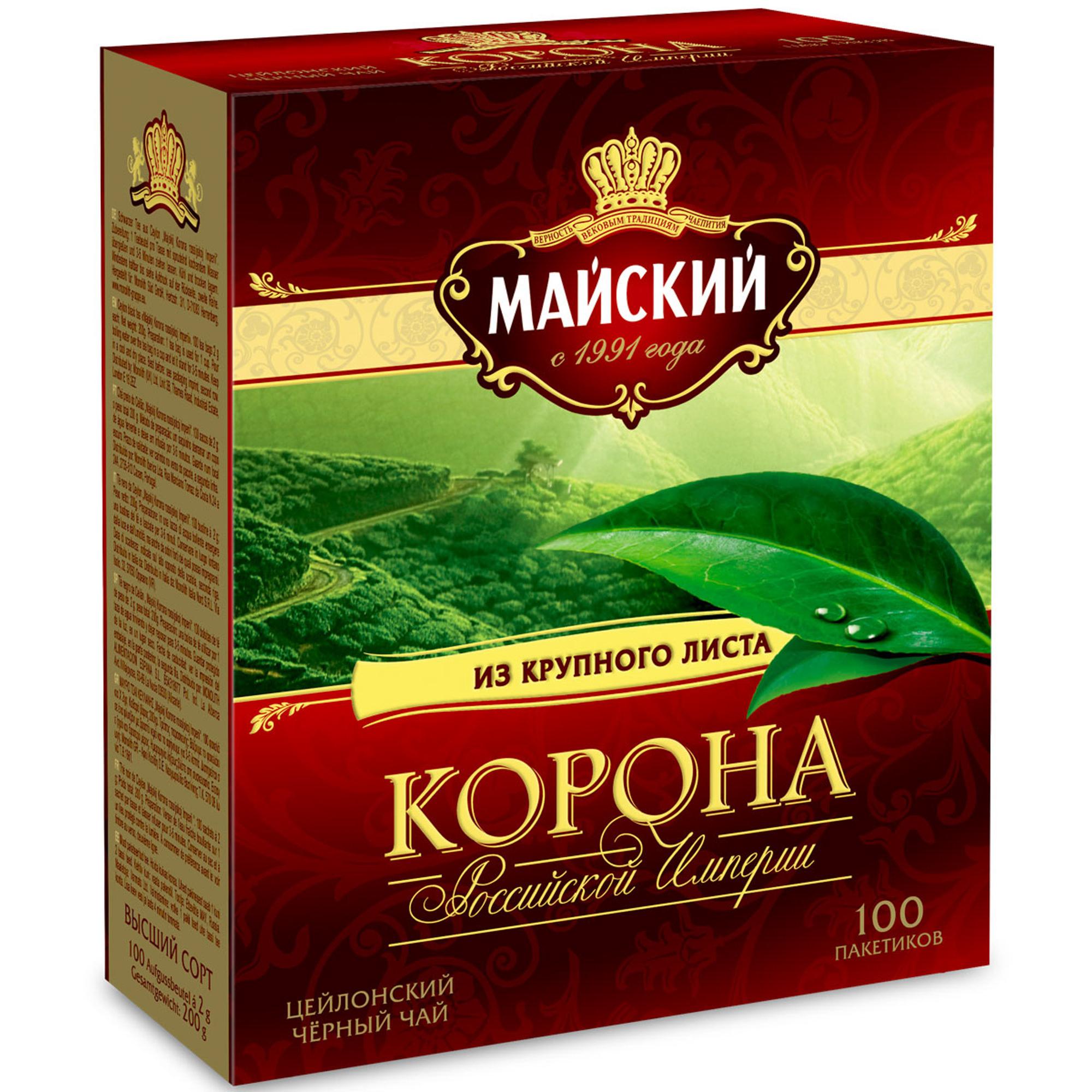 Чай черный Майский Корона Российской Империи 100 пакетиков фото