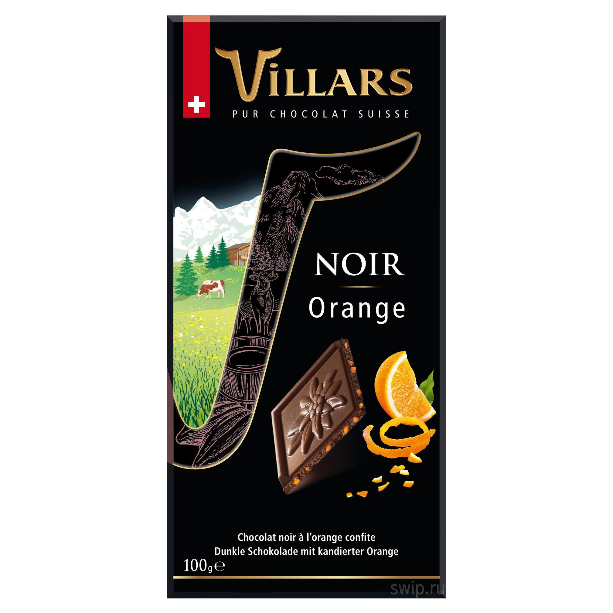 Шоколад темный Villars с цукатами из апельсиновых корочек 100 г