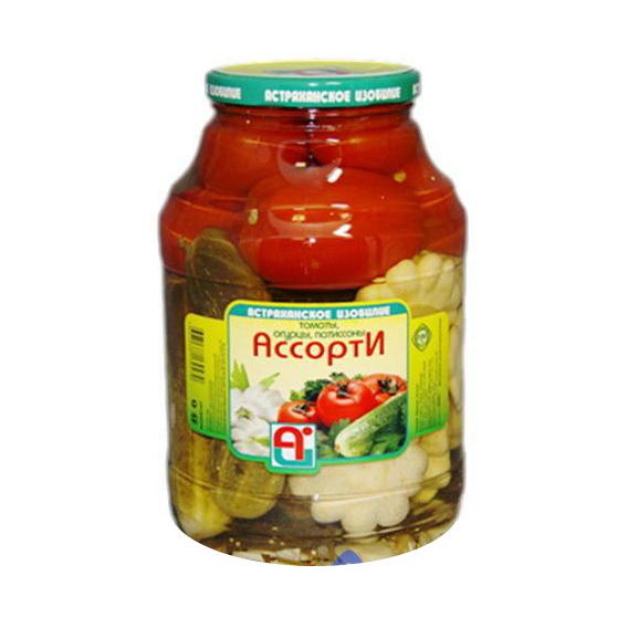 Ассорти овощное Астраханское Изобилие Томаты, огурцы 3 л фото