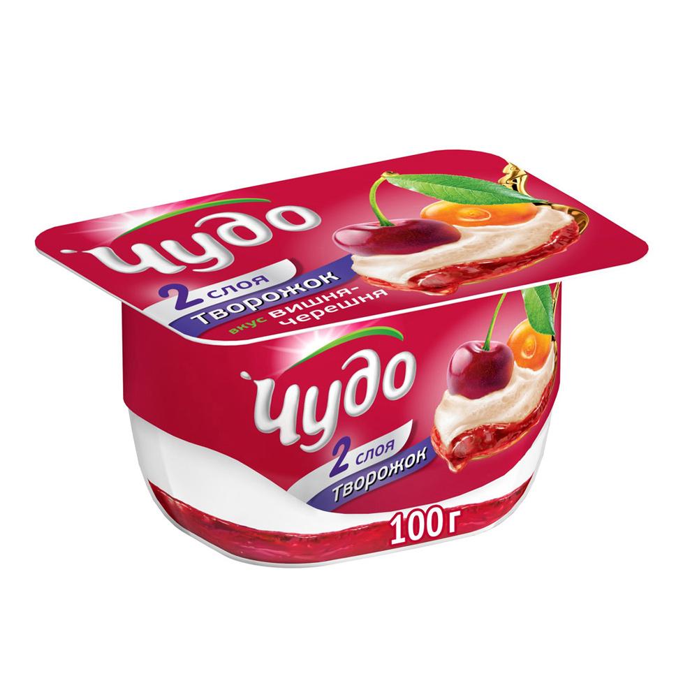 Десерт творожный Чудо творожок воздушный Вишня-Черешня 4% 100 г творожный десерт danone