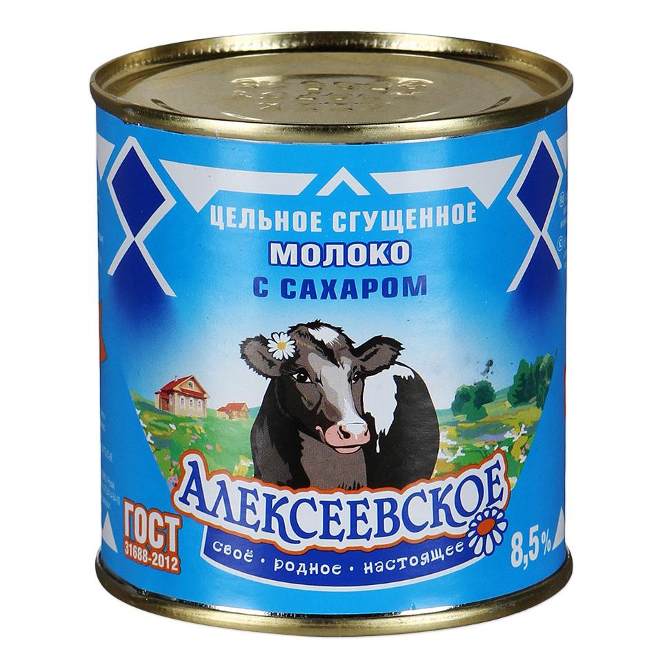 Молоко Алексеевское цельное сгущенное с сахаром 8,5% 380 г алексеевское бзмж молоко сгущенное с сахаром алексеевское