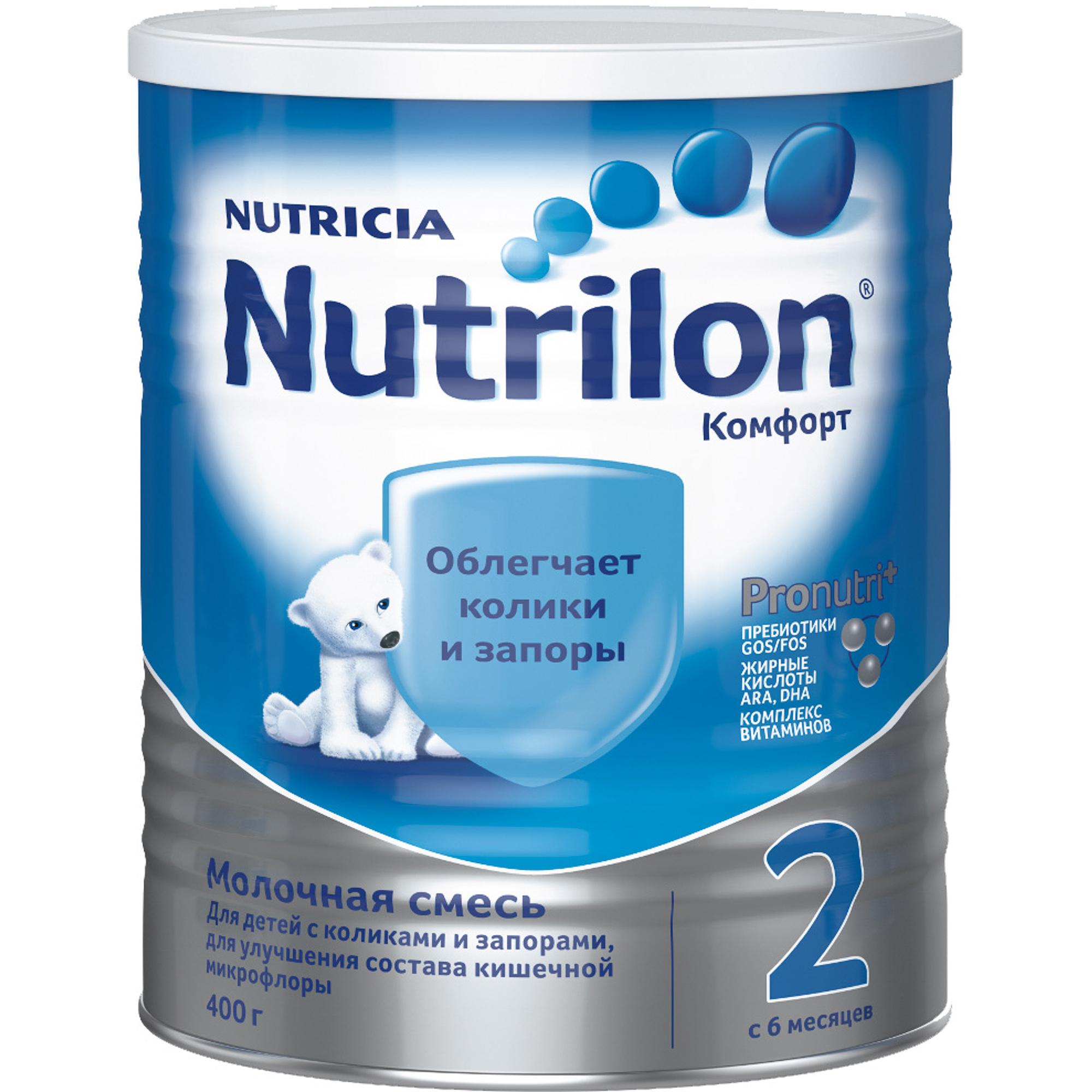 Смесь молочная Nutrilon Комфорт 2 с 6 месяцев 400 г молочная смесь nutricia nutrilon nutricia 1 premium c рождения 800 г