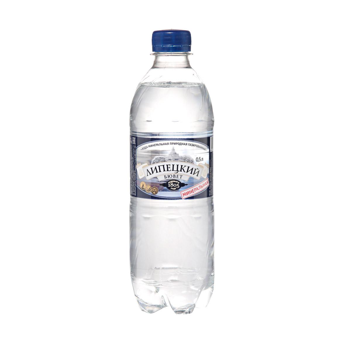 Вода минеральная Липецкий Бювет газированная 0,5 л