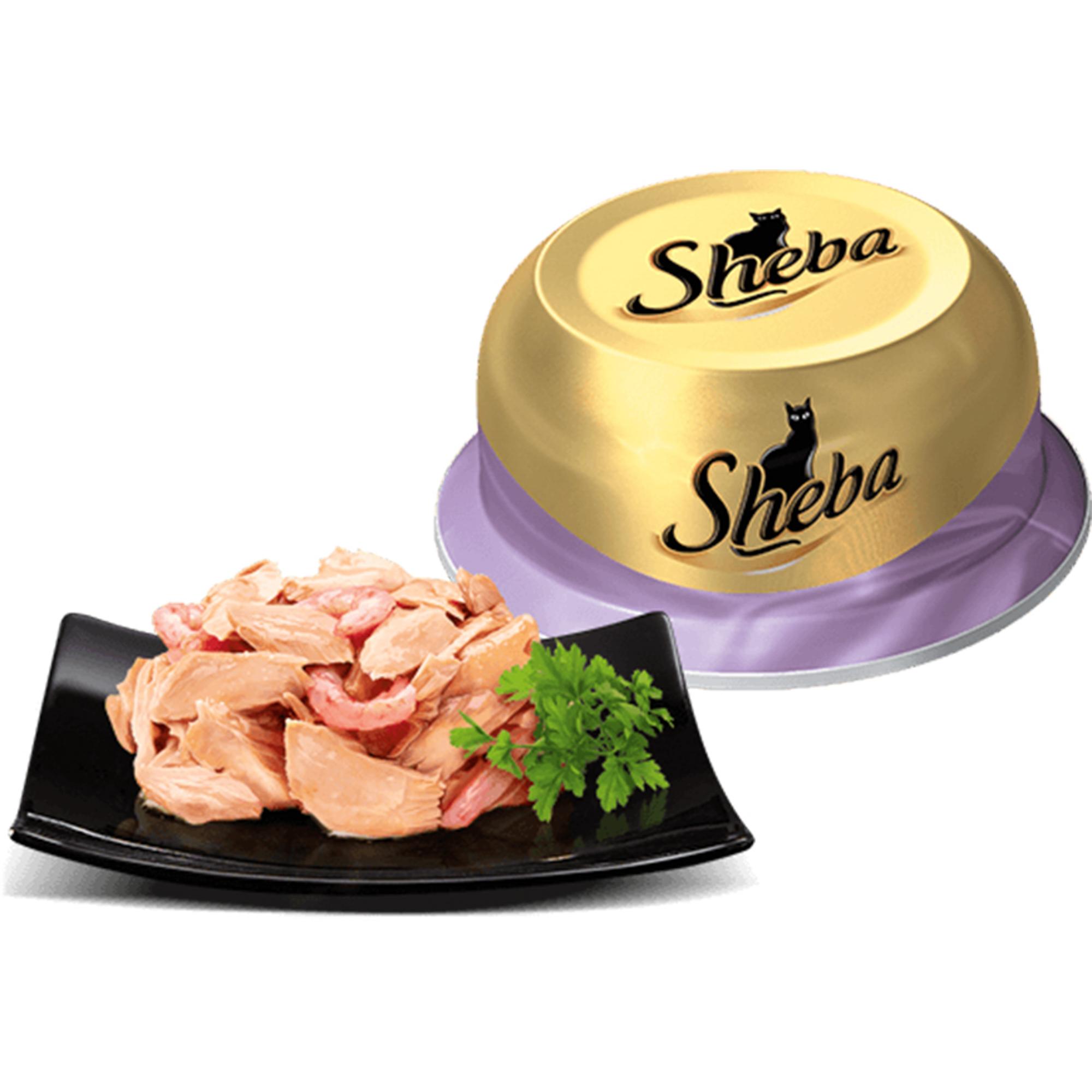 Корм для кошек SHEBA Коктейль из тунца с отборными креветками 80г.