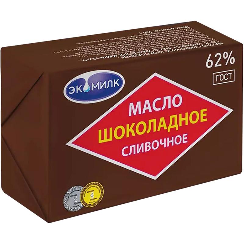 Масло сливочное Экомилк Шоколадное 62% 180 г экомилк бзмж масло сливочное крестьянское 72 5% 180 г экомилк