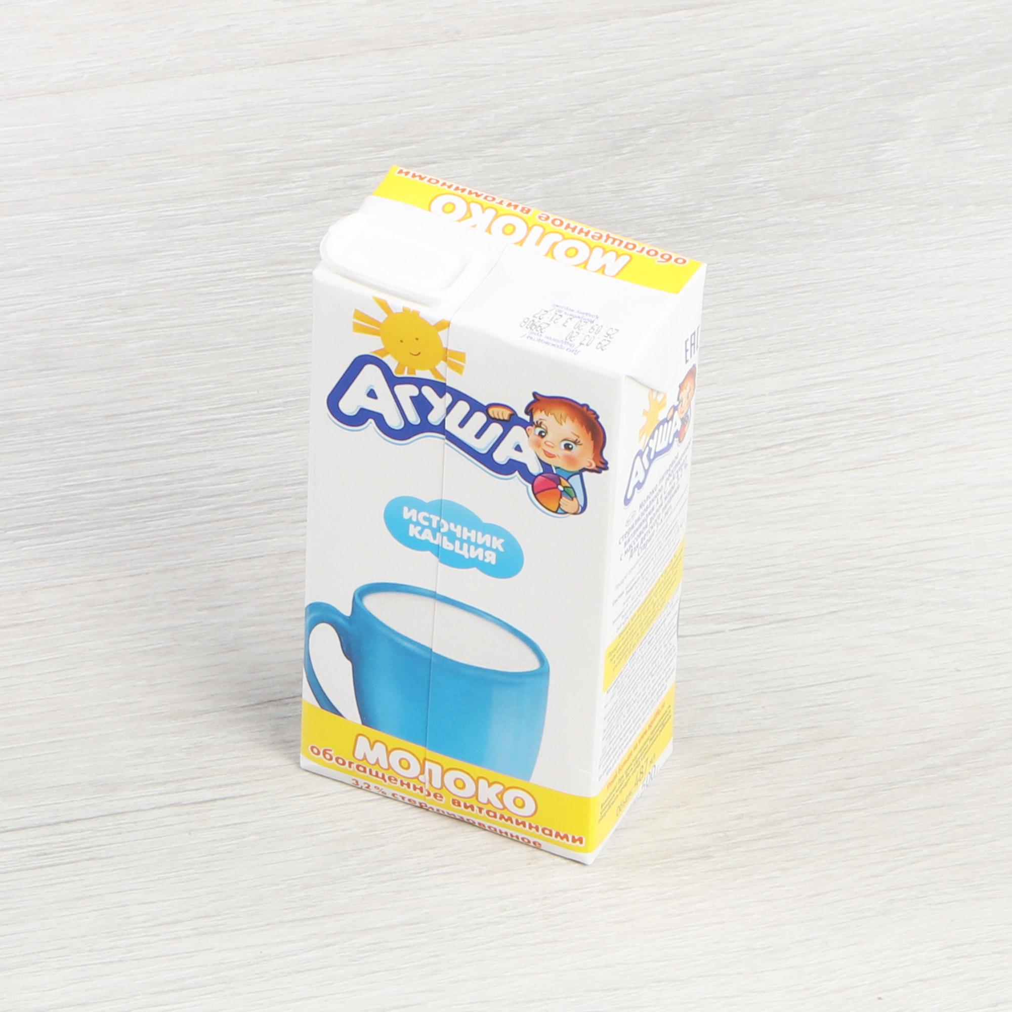 Молоко Агуша стерилизованное с витаминами А и С 3,2% 0,487 л фото