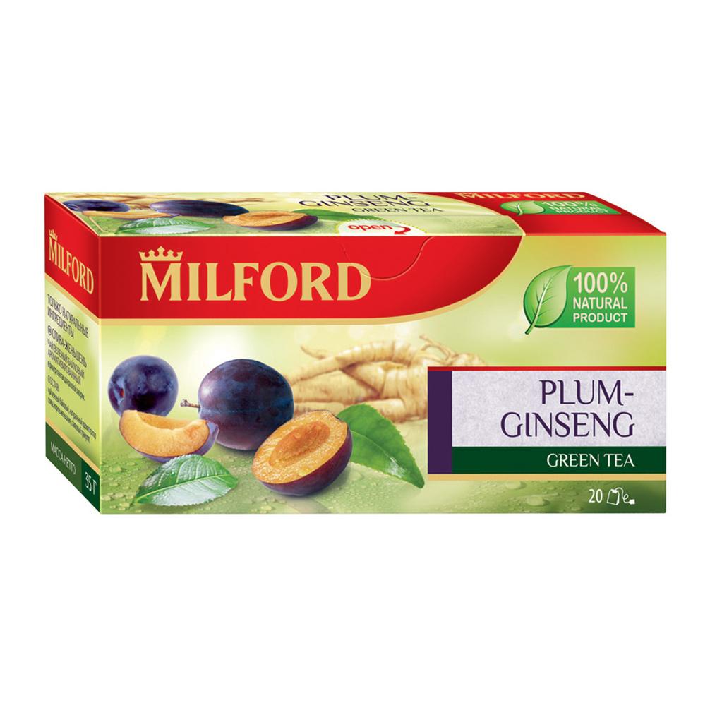 Чай зеленый Milford слива, женьшень 20 пакетиков чай зеленый milford wellness в пакетиках 20 шт
