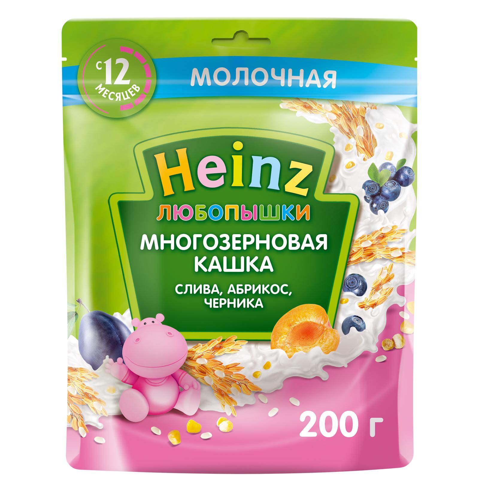 Каша молочная Heinz многозерновая слива-абрикос-черника с 12-ти месяцев 200 г.