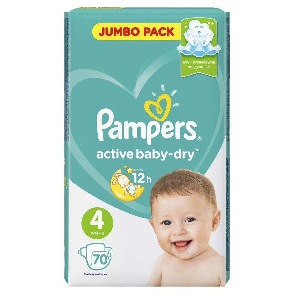 Подгузники Pampers Active Baby-Dry 4 Maxi (9-14 кг) 70 шт подгузники pampers active baby dry 5 11 18 кг 111 шт