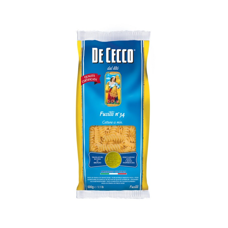 Макаронные изделия De Cecco Фузилли №34 500 г макароны de cecco rigate tricolore 500 г