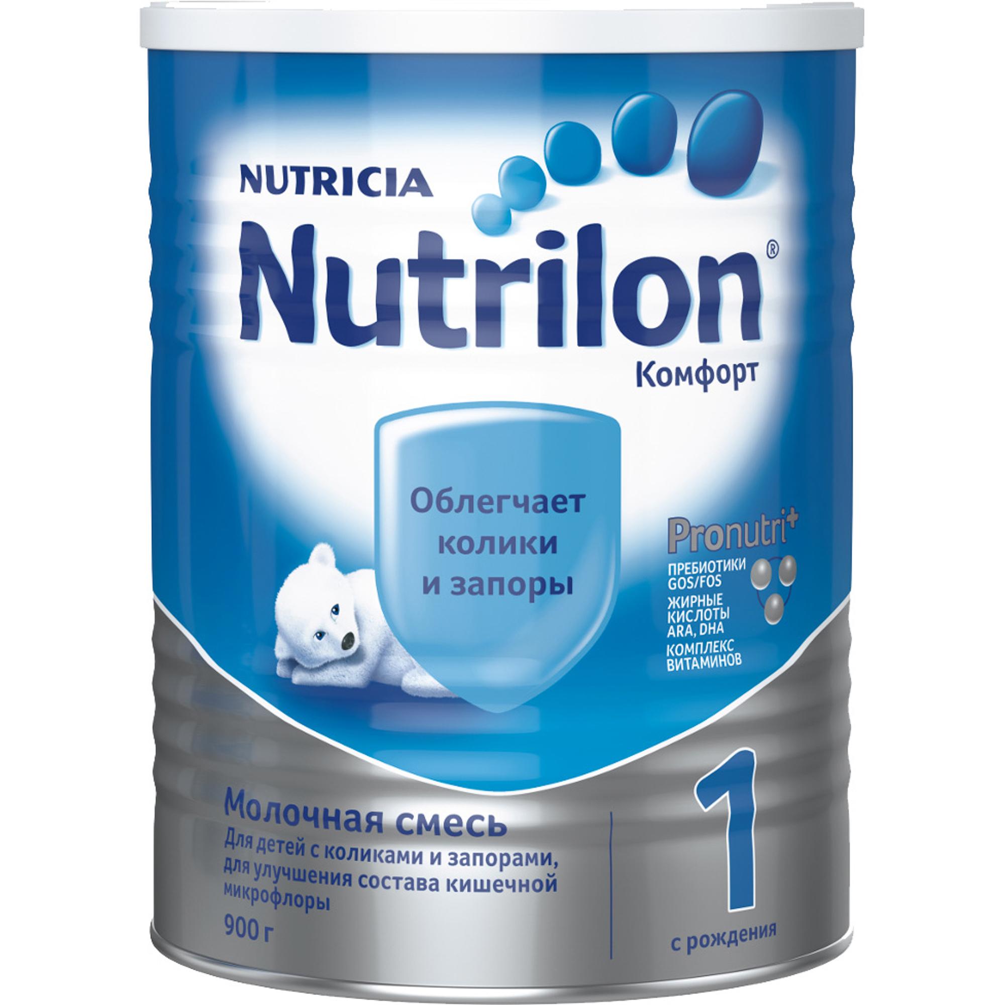 Смесь молочная Nutrilon Комфорт 1 с рождения 900 г молочная смесь nutricia nutrilon nutricia 1 premium c рождения 800 г