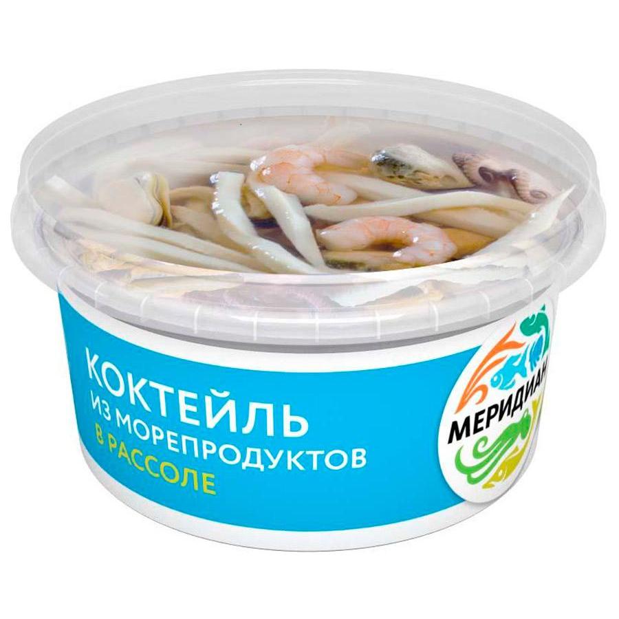 Коктейль из морепродуктов Меридиан в рассоле, 430 г коктейль из морепродуктов меридиан подкопченный в масле 380 г