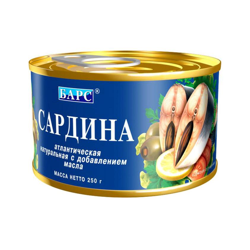 Сардина Барс с добавлением масла 250 г барс сайра тихоокеанская натуральная с добавлением масла 250 г