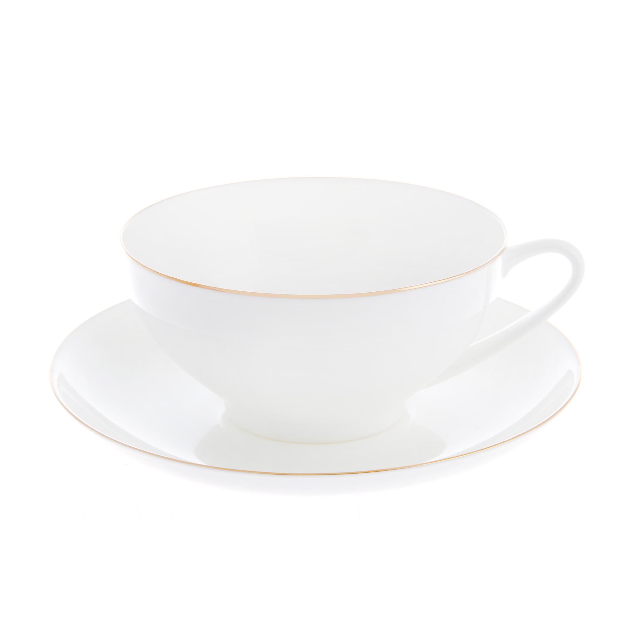 Чашка с блюдцем ЛФЗ чайная, форма купольная - золотая лента