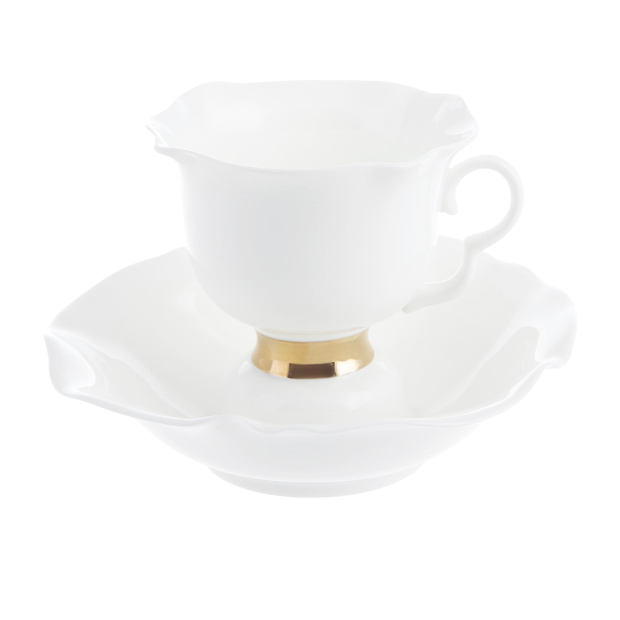 Чашка с блюдцем чайная ИФЗ 200 мл Белый цветок Золотая лента 200 мл