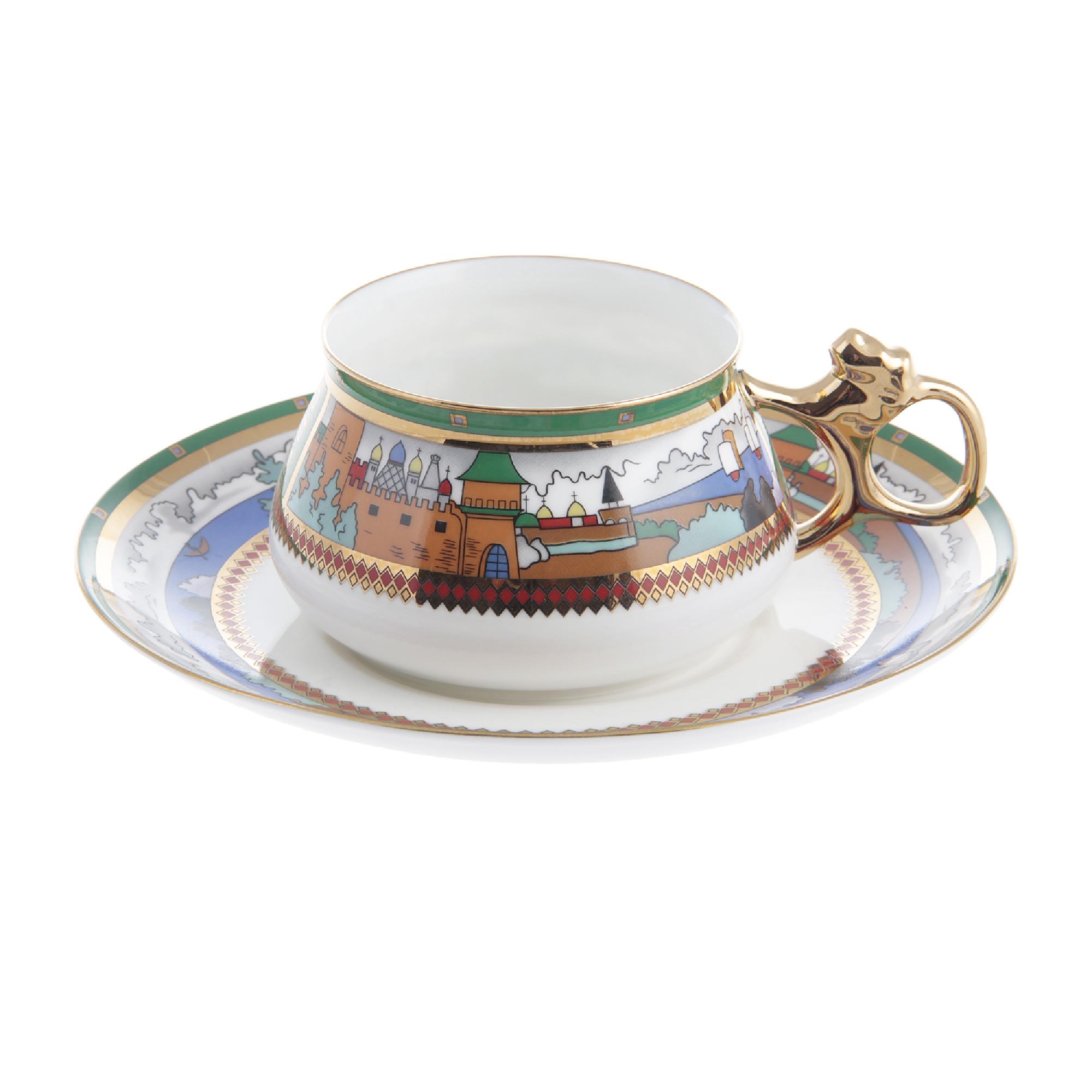 Чашка с блюдцем кофейная ИФЗ Билибина Деревня на озере 180 мл