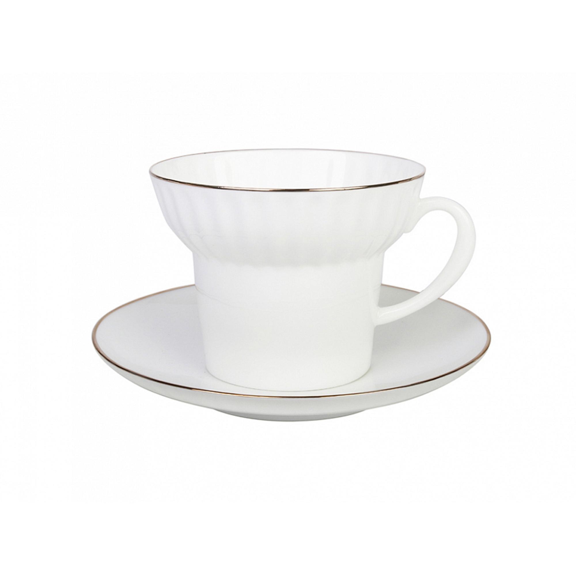 Чашка с блюдцем чайная, форма волна - золотой кантик Лфз