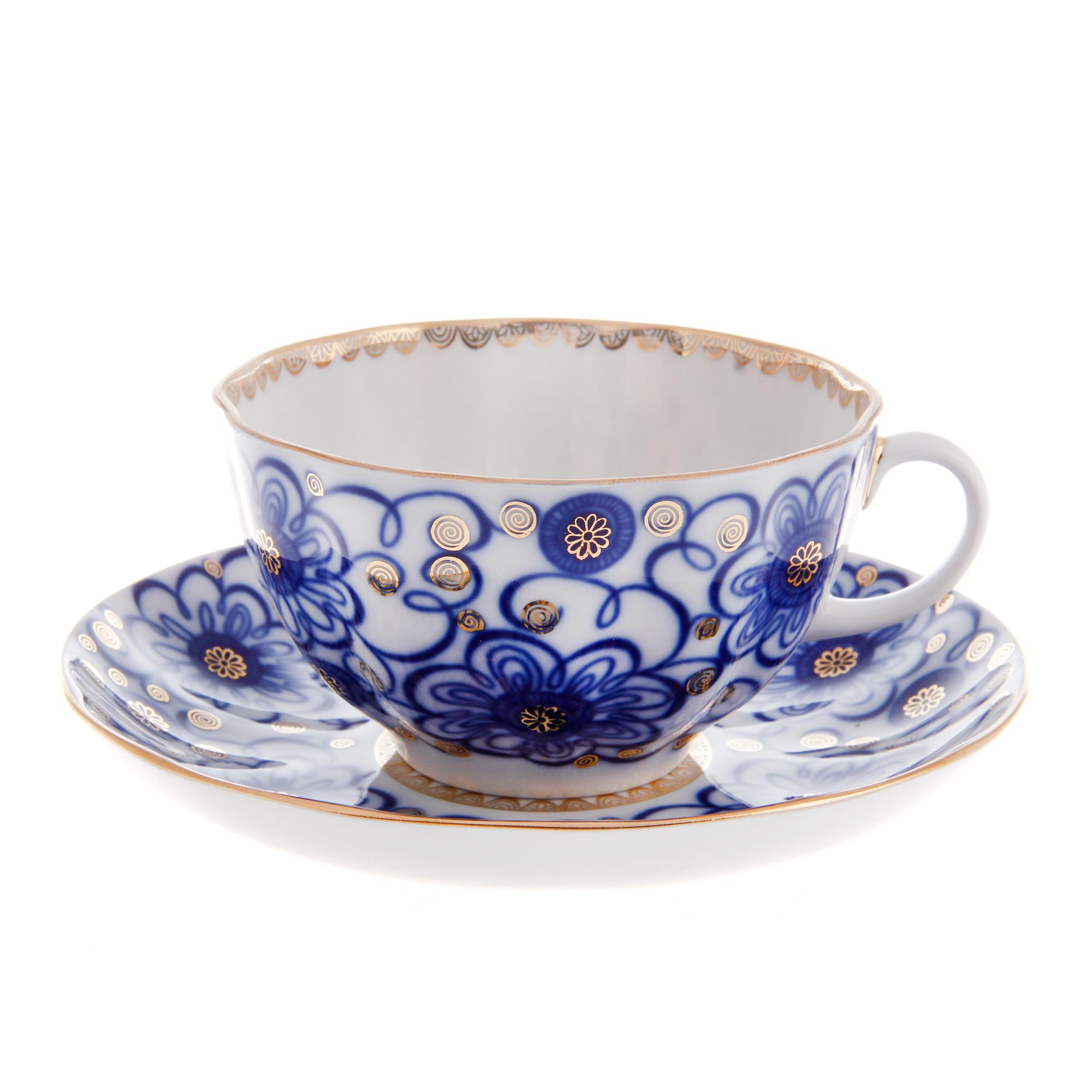 Чашка с блюдцем чайная, форма тюльпан - вьюнок Лфз