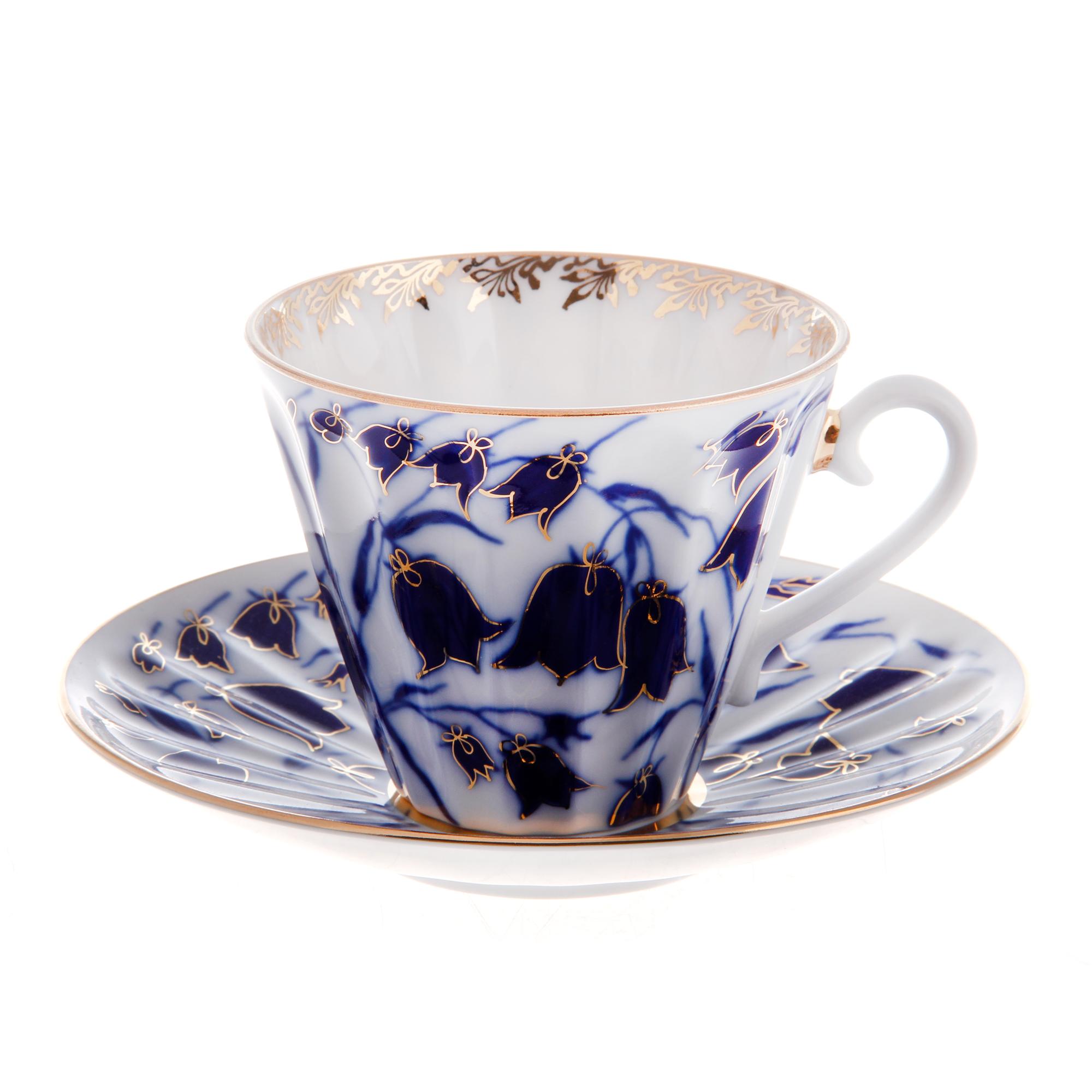 Чашка с блюдцем чайная, форма лучистая - колокольчики ЛФЗ