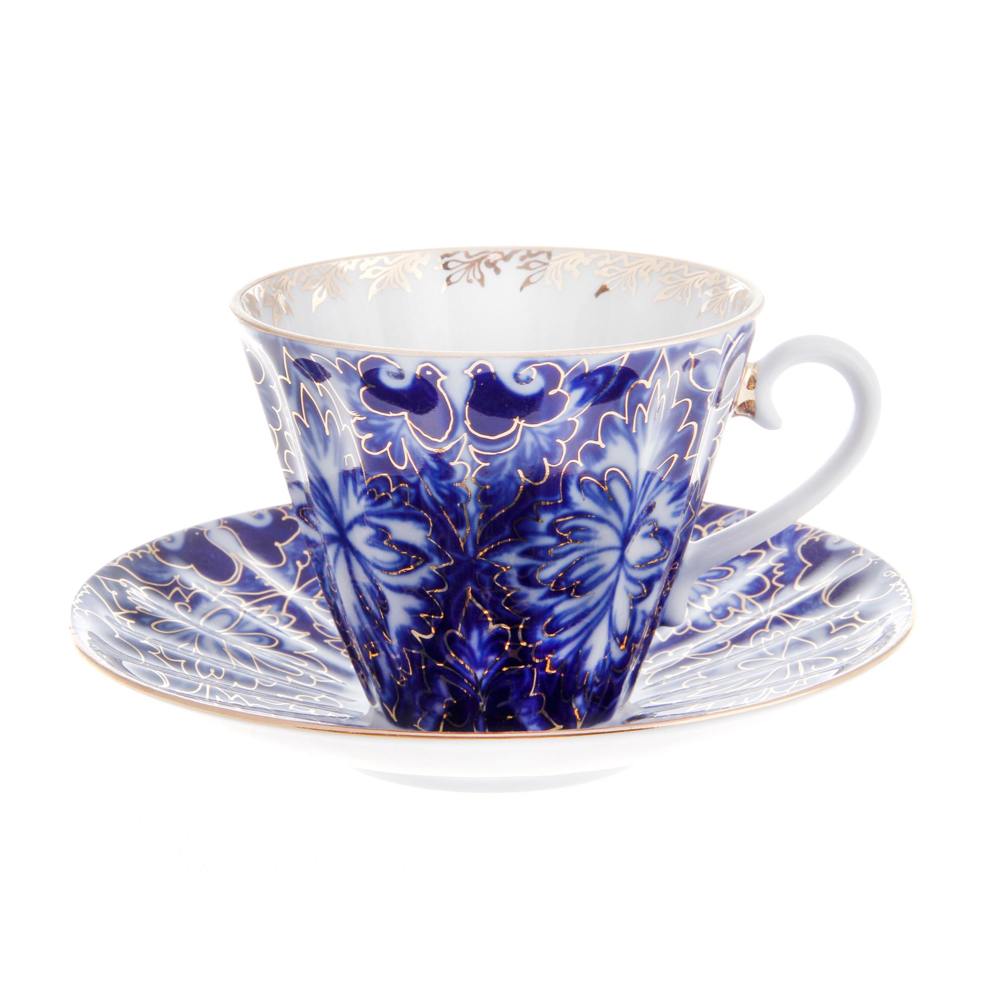 Чашка с блюдцем чайная, форма лучистая - тетерева Лфз