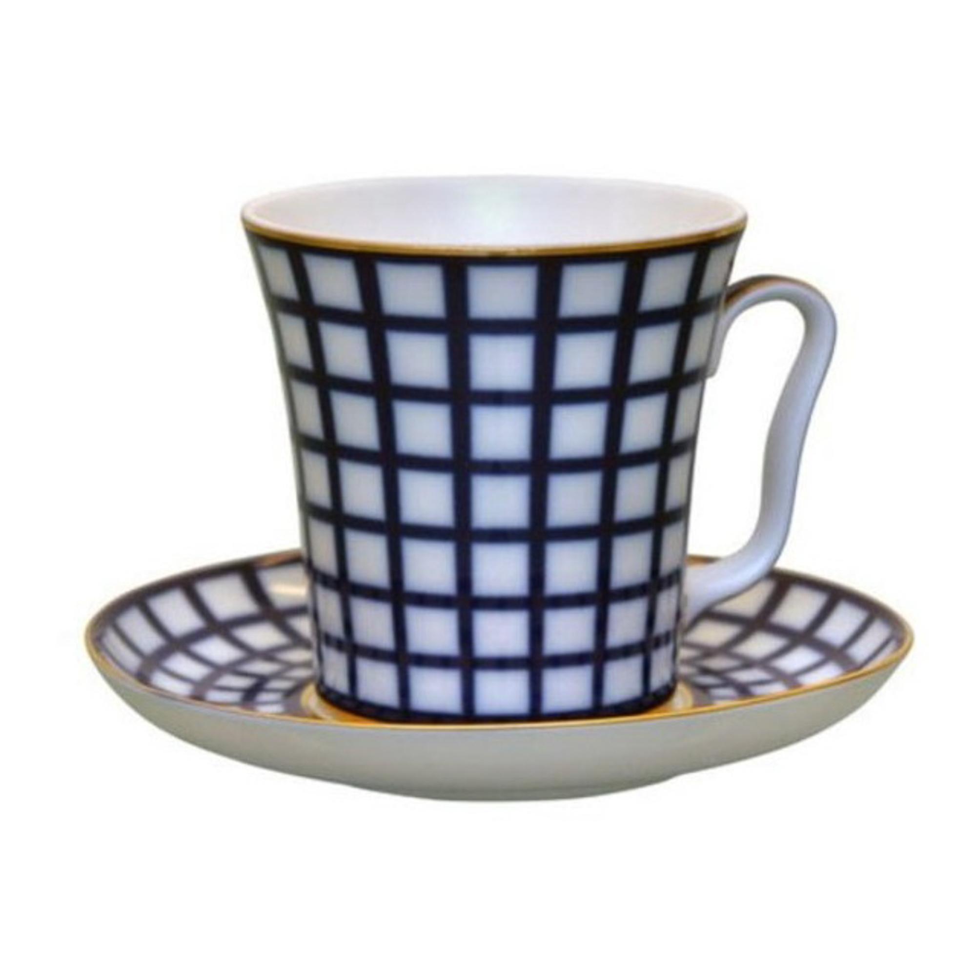 Бокал с блюдцем чайный, форма ленинградский - кобальтовая клетка Лфз фото