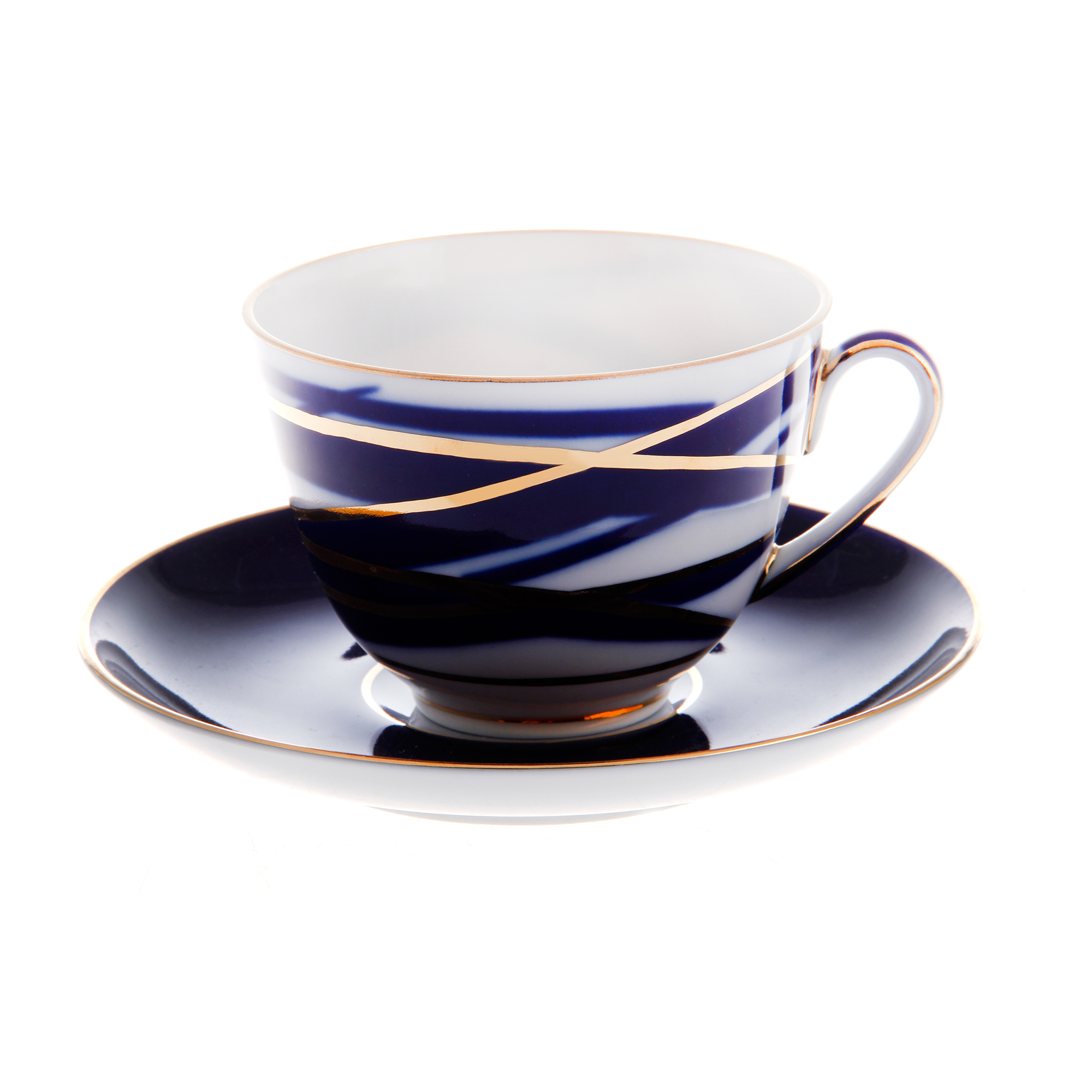 Чашка с блюдцем ЛФЗ чайная, форма весенняя - кокон фото