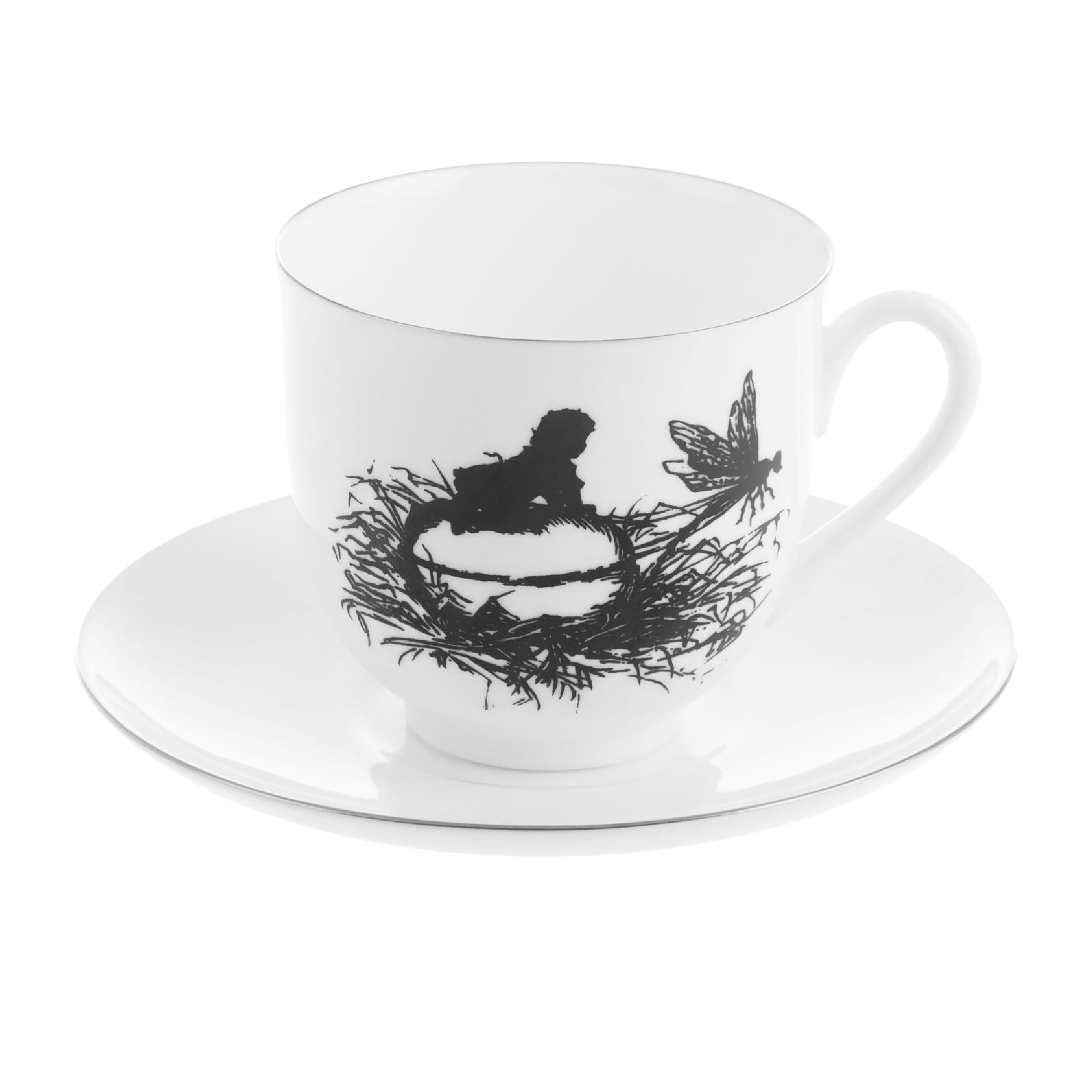 Чашка с блюдцем кофейная ИФЗ Ландыш Стрекоза 180 мл фото