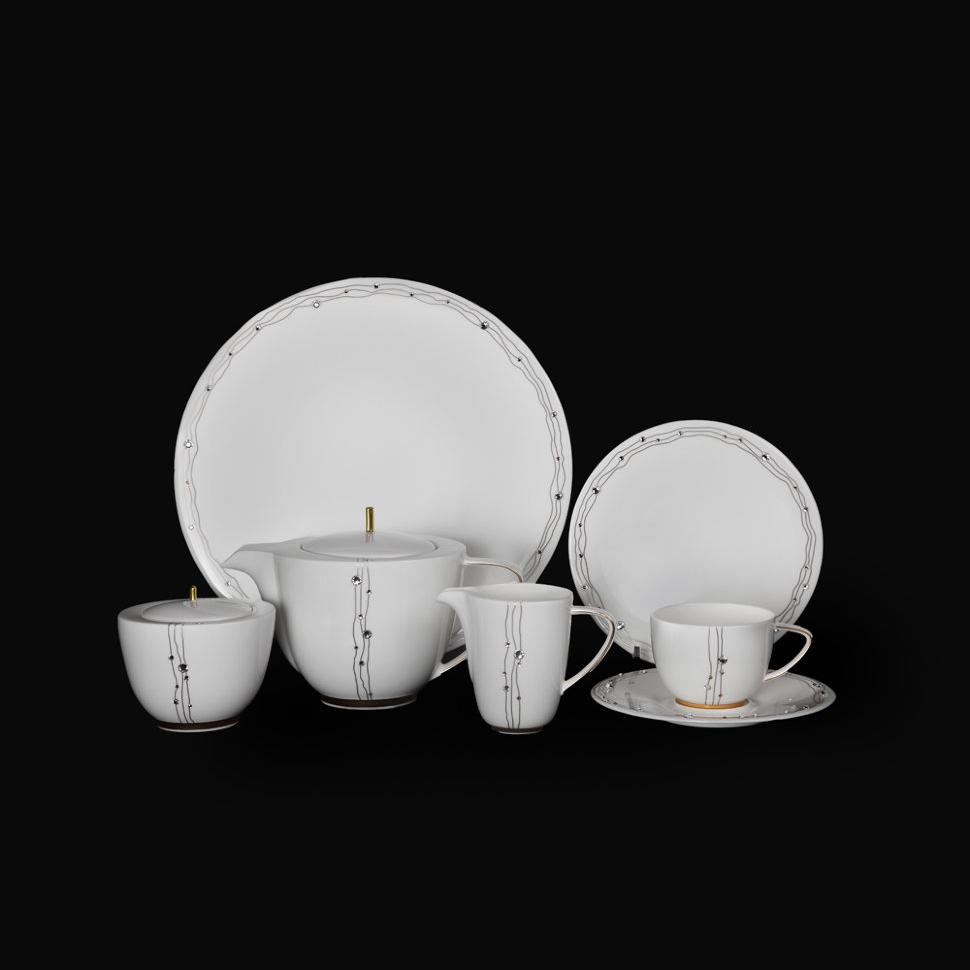 Фото - Чайный сервиз Hankook/Prouna Юпитер с кристаллами Swarovski 22 предмета чайный сервиз hankook prouna блэк палас с кристаллами swarovski 22 предмета