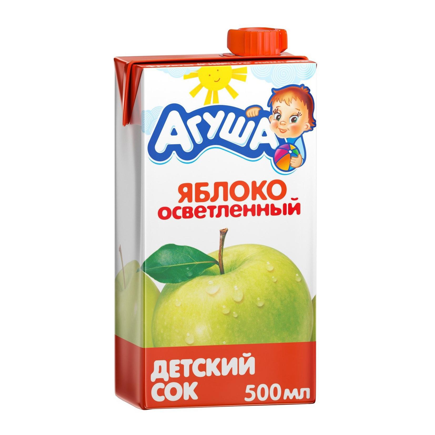 Сок Агуша яблочный осветленный с 4-ех месяцев 500 мл компот агуша курага изюм яблоко с 3 ех лет 500 мл
