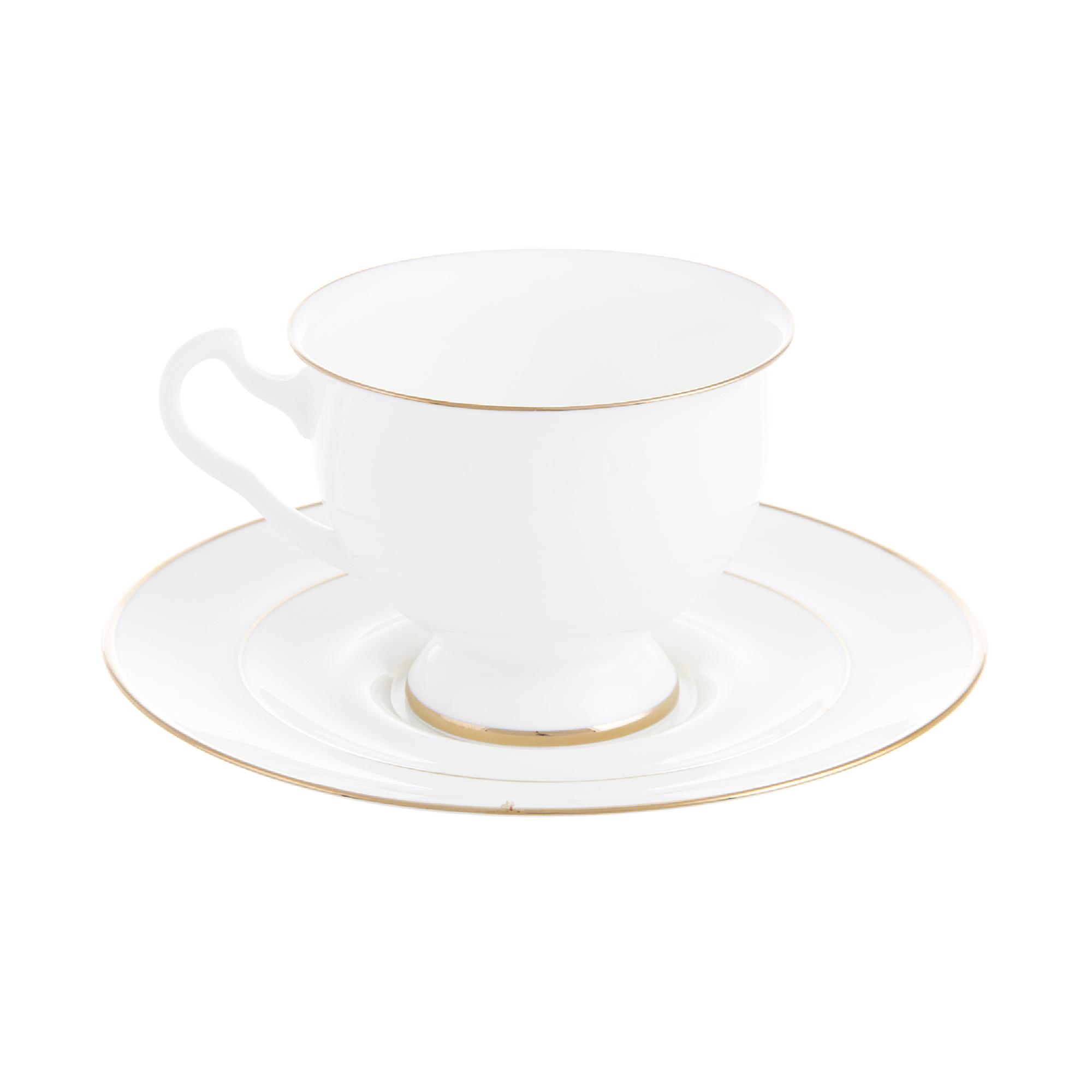 Чашка с блюдцем чайная айседора золотая лента к Ифз