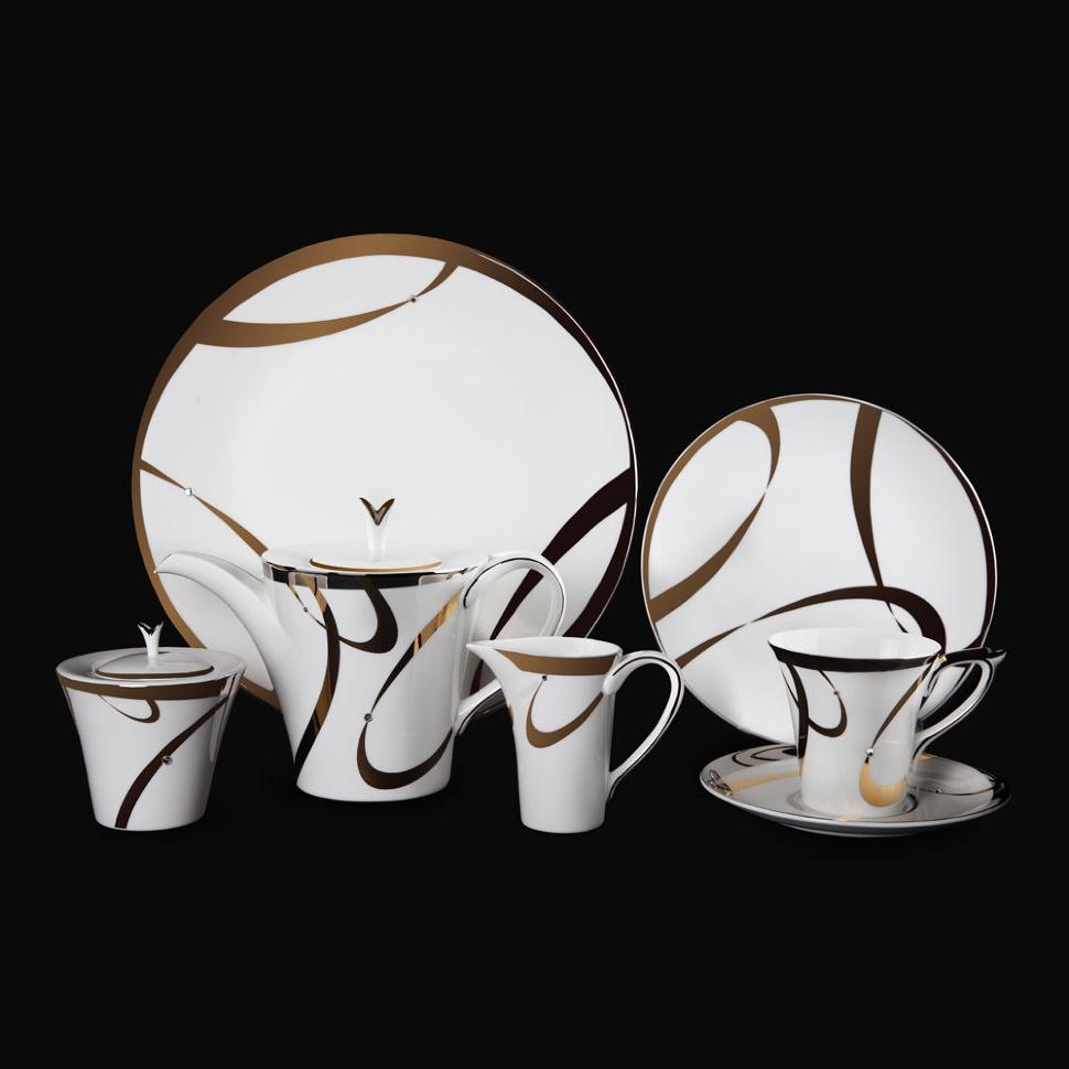 Фото - Чайный сервиз Hankook/Prouna Аврора с кристаллами Swarovski 22 предмета чайный сервиз hankook prouna блэк палас с кристаллами swarovski 22 предмета