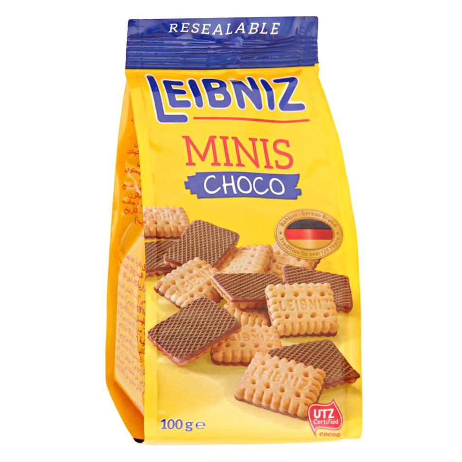 Печенье Bahlsen Leibniz Minis Choco с молочным шоколадом 100 г бальзен печенье сендвич pick up с белым шоколадом bahlsen