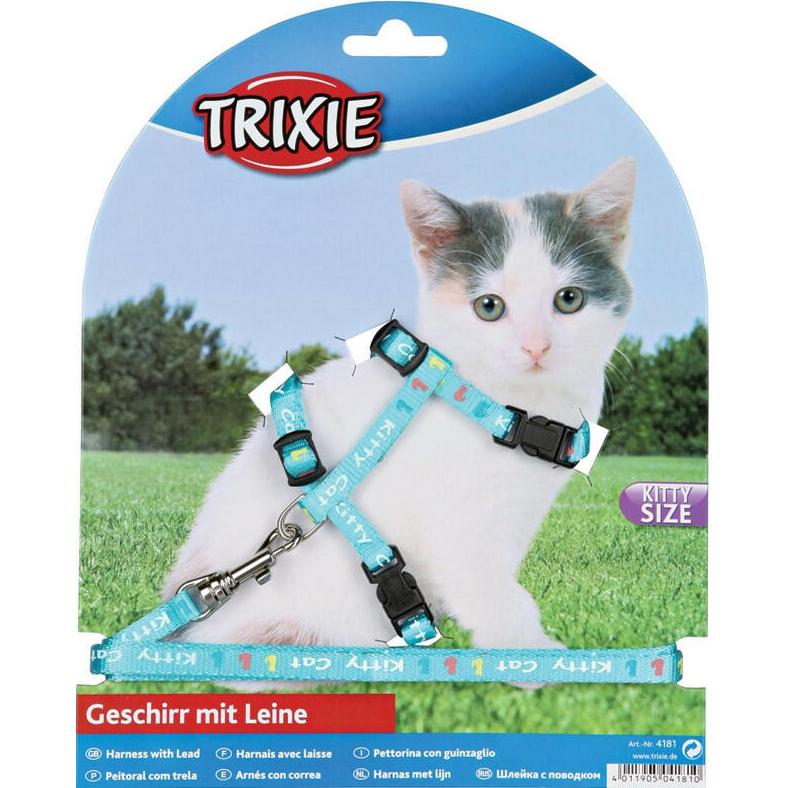 Шлейка и поводок для котят TRIXIE Нейлоновый с рисунком 21-33 см В ассортименте.