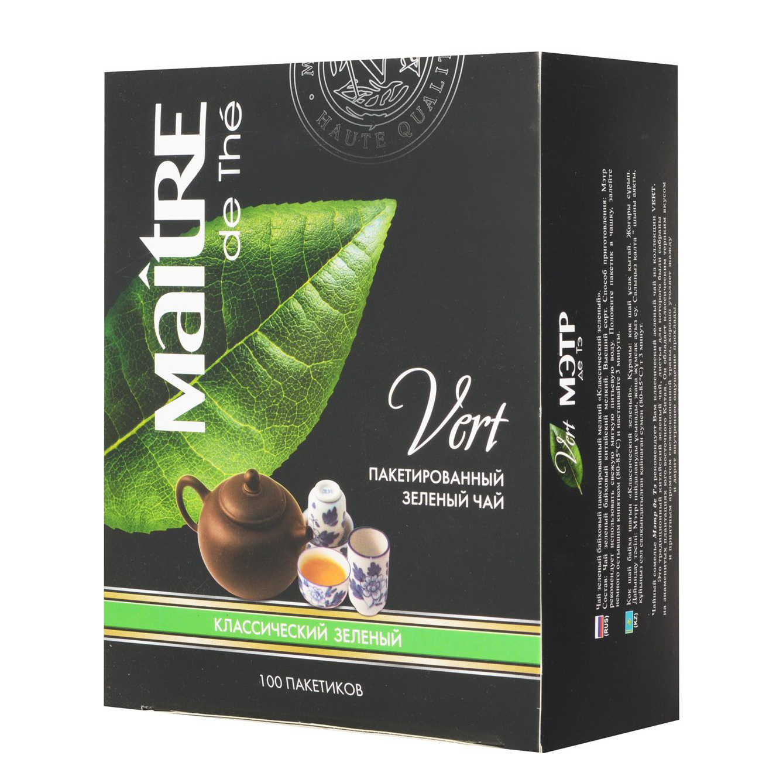 Чай зеленый Maitre de The Классический байховый 100 пакетиков фото