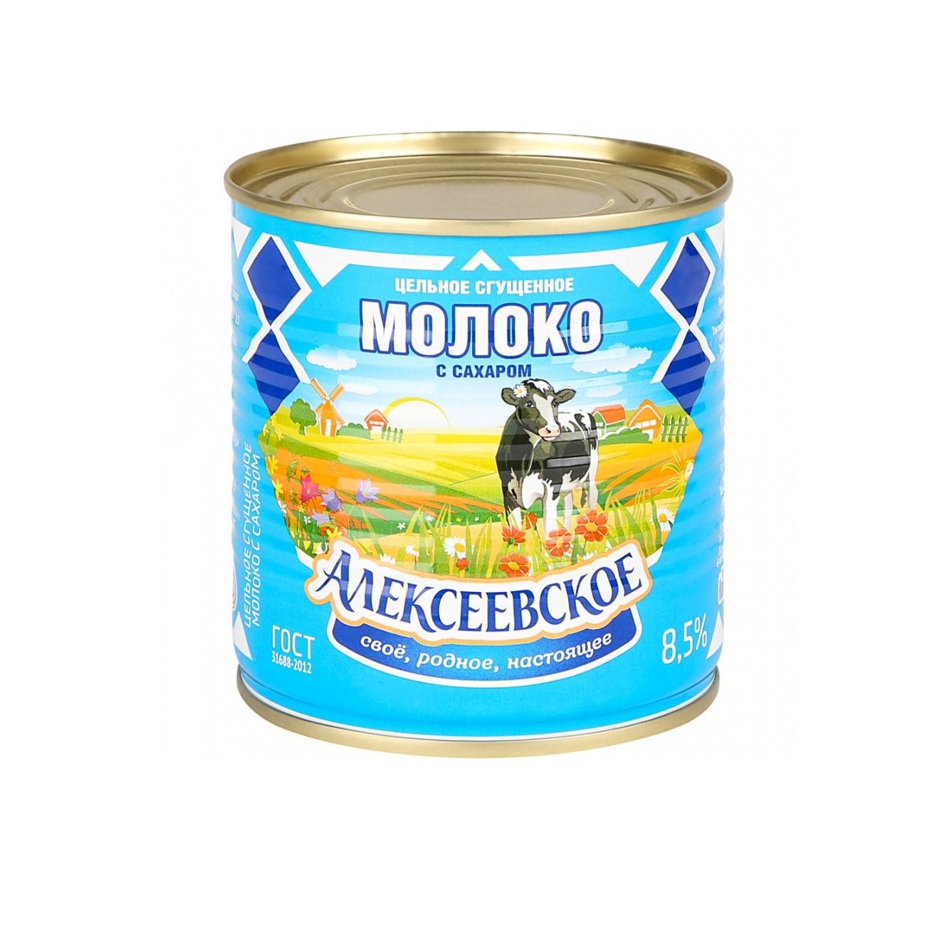Молоко Алексеевское сгущенное с сахаром 8,5%, 360 г алексеевское бзмж молоко сгущенное с сахаром алексеевское