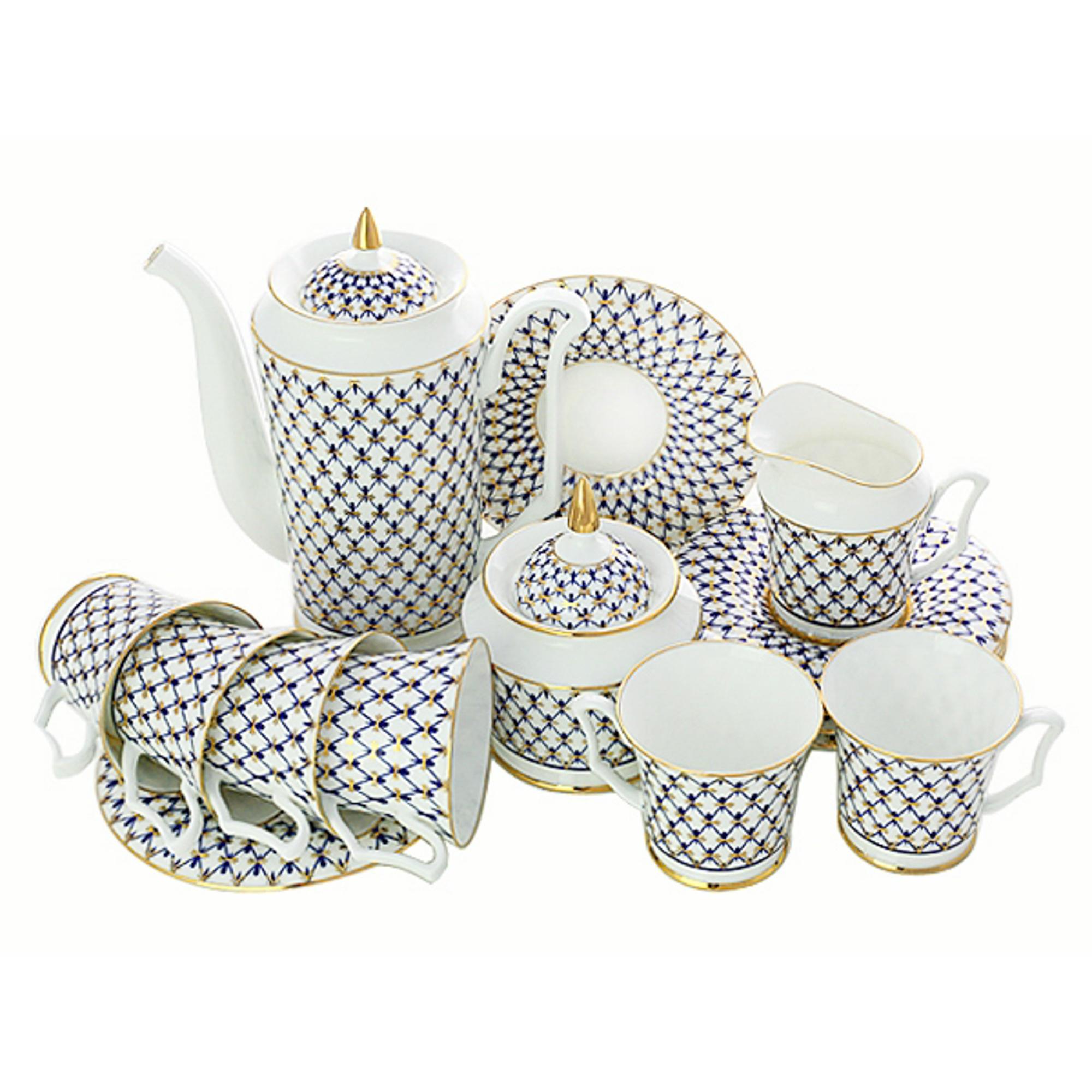Сервиз кофейный ЛФЗ ,форма Юлия - кобальтовая сетка , 6 персон , 15 предметов